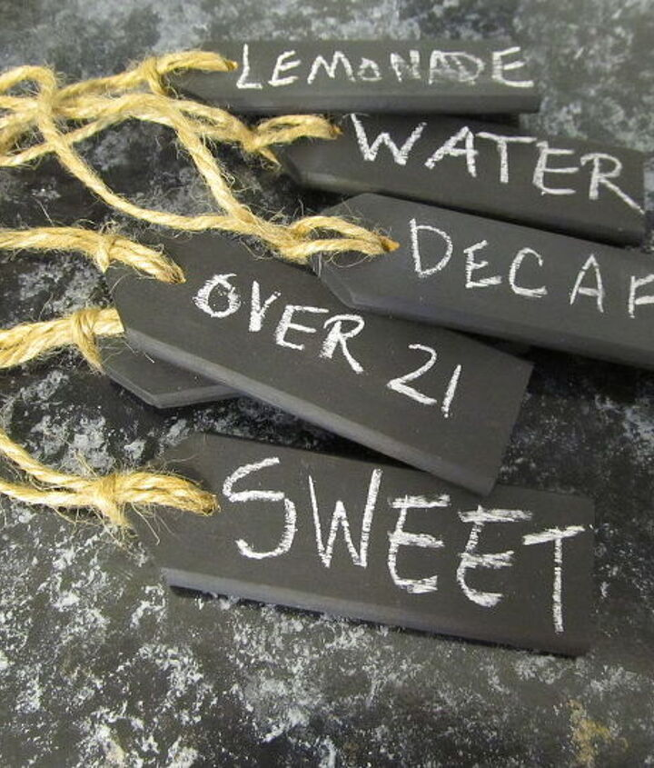 I did three other styles, you can see them on my blog post,  Beverage Tags {repurposed shutter slats} http://bit.ly/PCvWBz
