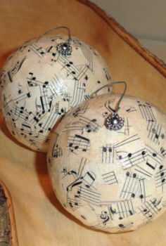 song sheet christmas ornaments, christmas decorations, crafts, decoupage, seasonal holiday decor