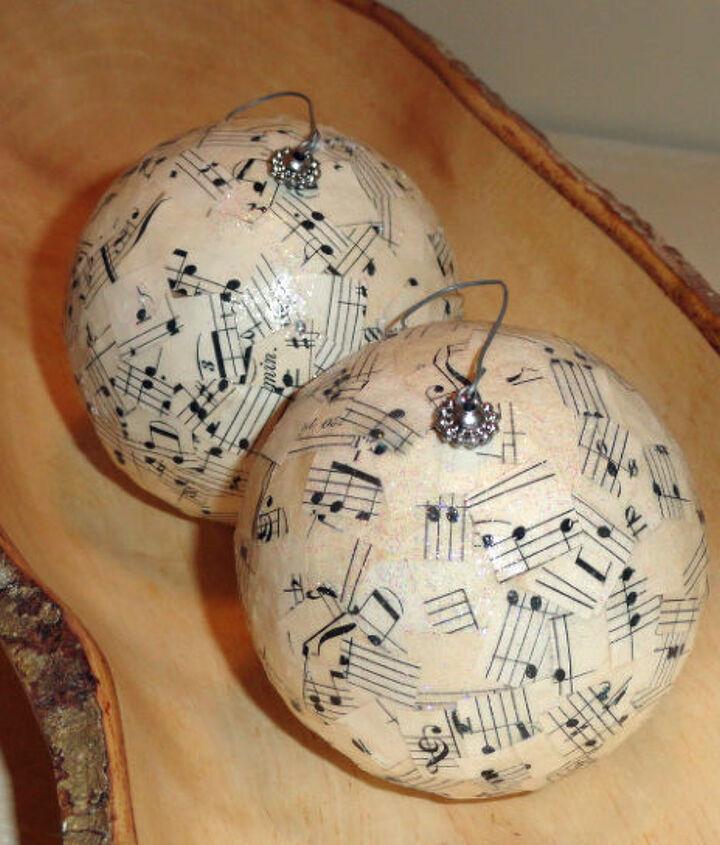 song sheet christmas ornaments, christmas decorations, crafts, decoupage, seasonal holiday decor