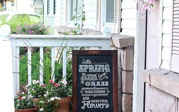 spring summer porch updates, chalkboard paint, crafts, curb appeal, seasonal holiday decor, wreaths, Instant character added with a new wreath potted flowers an easel chalkboard