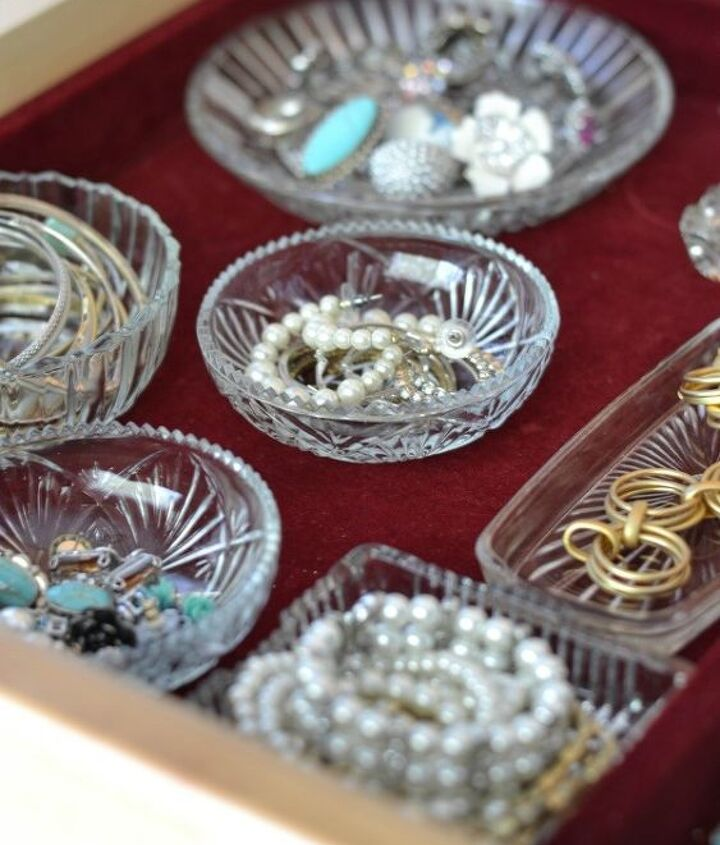 Get Organized with small dishes to corral your small earrings, rings, pins and bracelets.