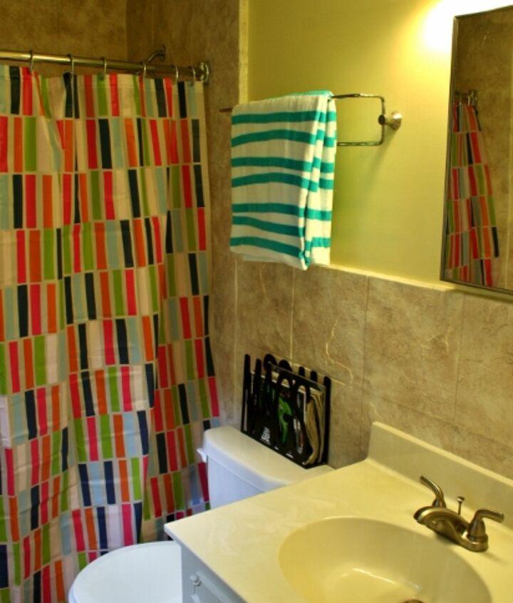 A fun towel always helps a bathroom too.