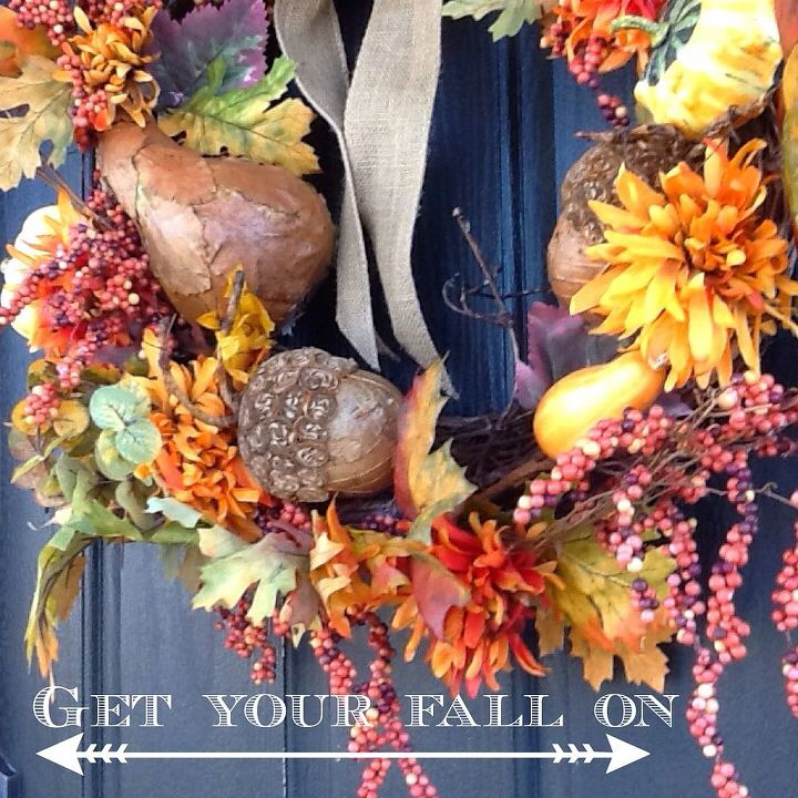 fall porch, porches, seasonal holiday decor, wreaths, My fall wreath that I made from an older wreath