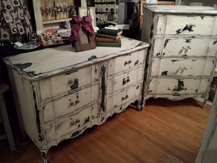 under dis stress, painted furniture