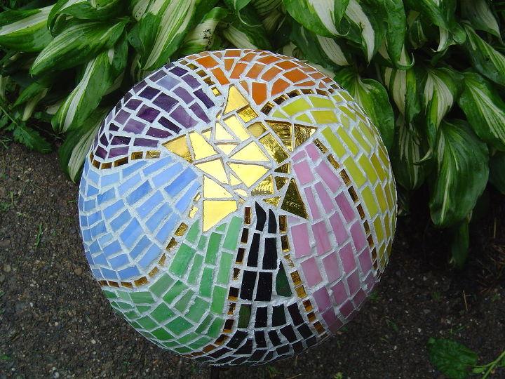 bowling ball mosaic art, crafts, gardening, repurposing upcycling