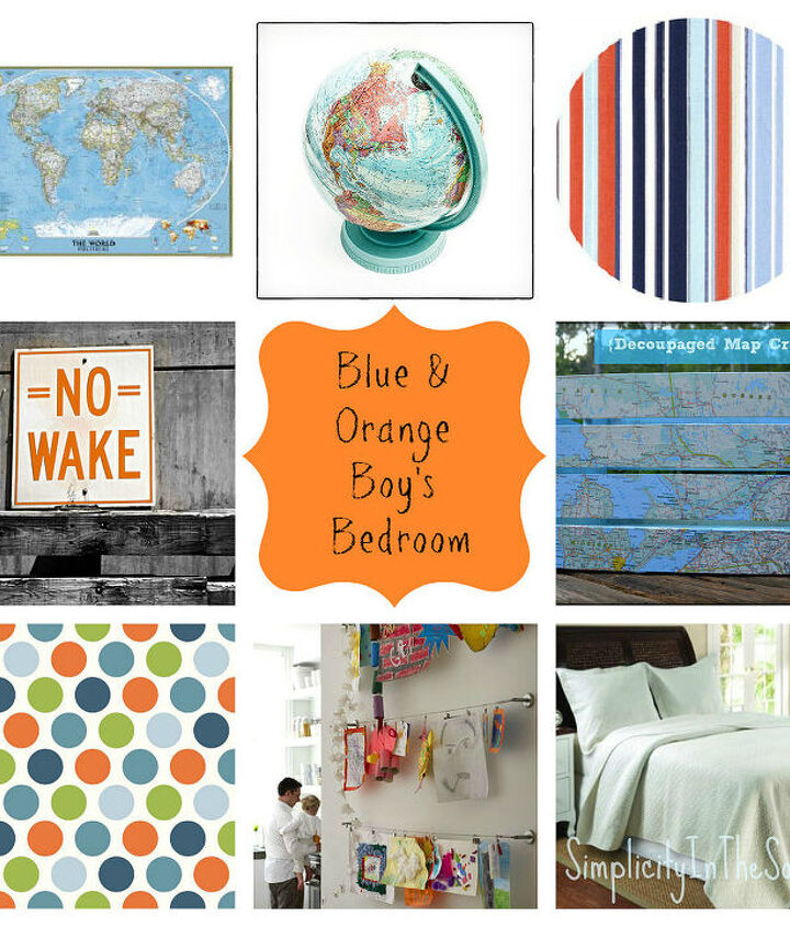 Design board for a blue and orange boy's room