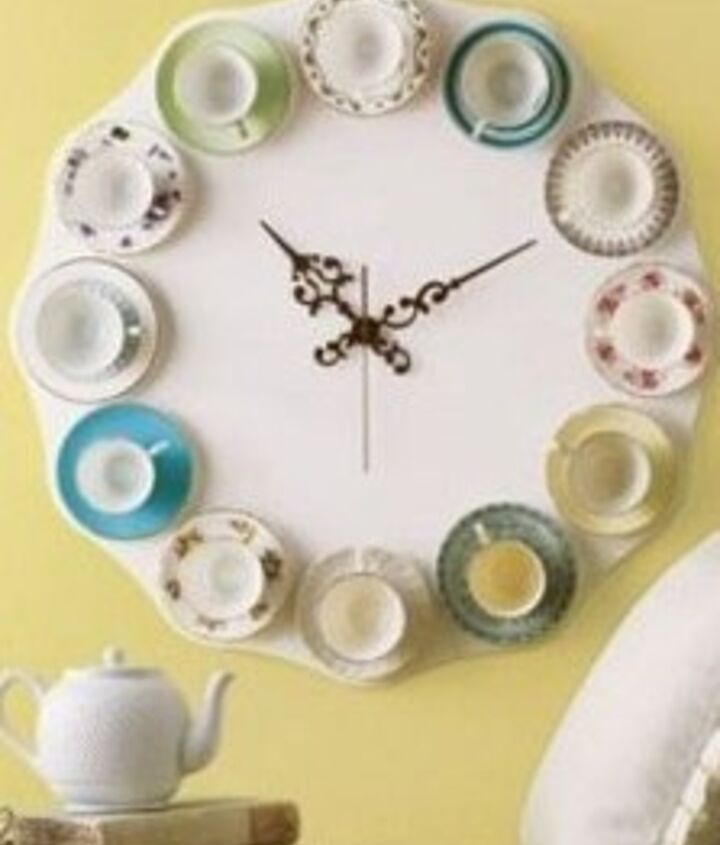 2. China Plates - I am particularly interested in this one. because I collect hand painted antique china plates. If I could get the use out of them as a decorative clock... That would be so cool! I love the tea cup addition to it as...