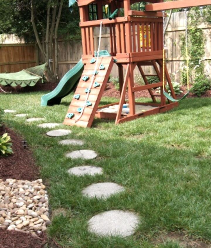 Nice, family back yard, right? Look out below for the before!