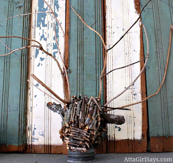 faux driftwood deer head mount made from twigs amp sticks, crafts, home decor