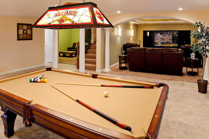 Pool table overlooking the theater room