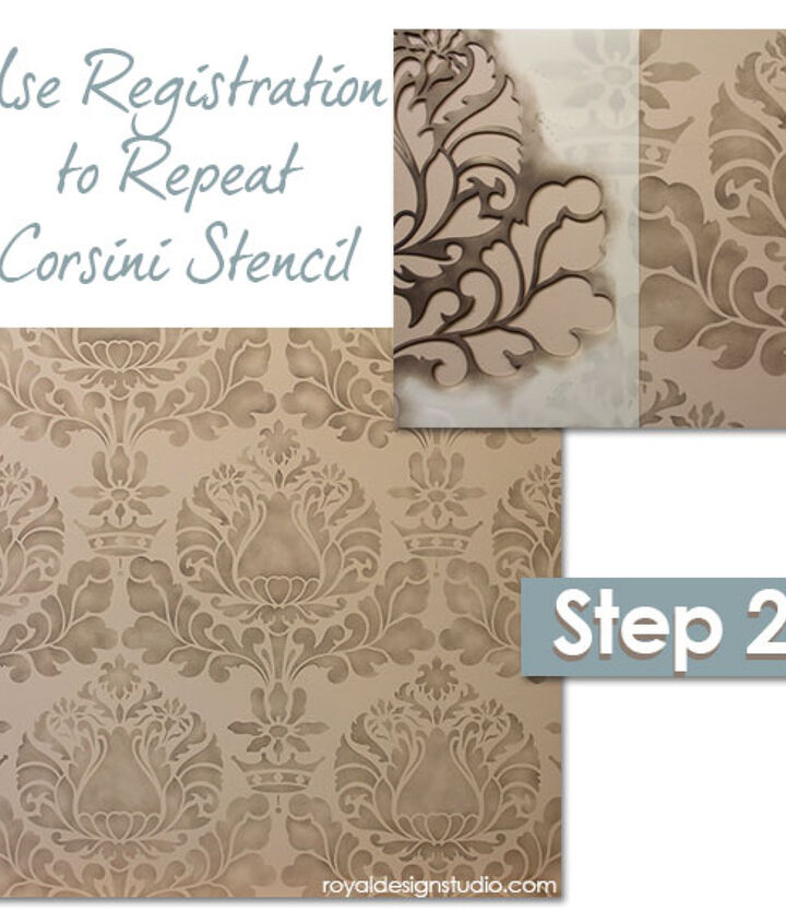 Using our built-in registrations for easy alignment of an Allover Pattern. http://www.royaldesignstudio.com/blogs/how-to-stencil/7973661-stencil-how-to-easy-sponge-roller-texture-and-stencil-shadow-shift