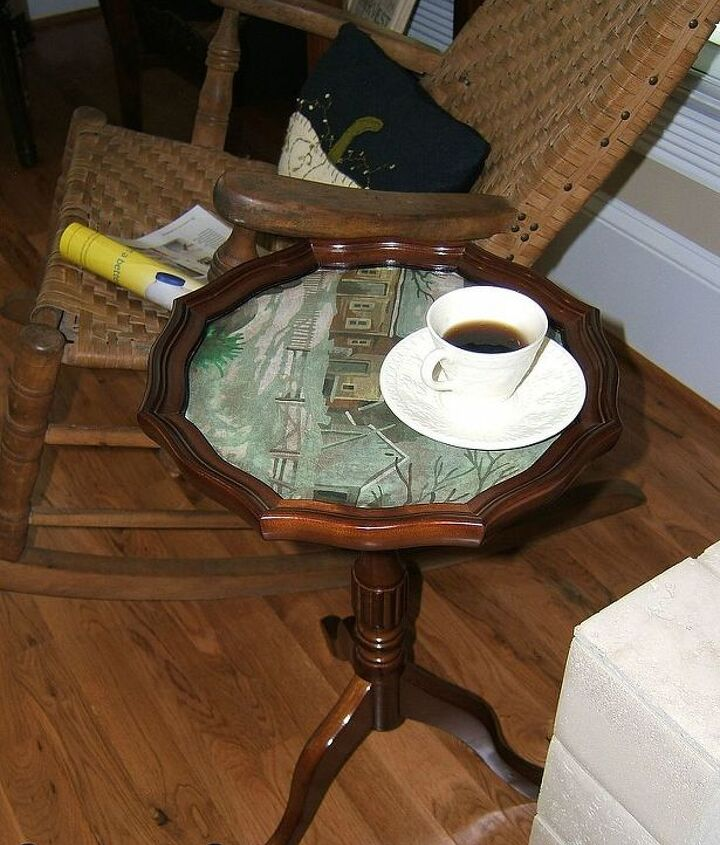 turn a vintage paint by number into a table top, crafts, painted furniture, repurposing upcycling