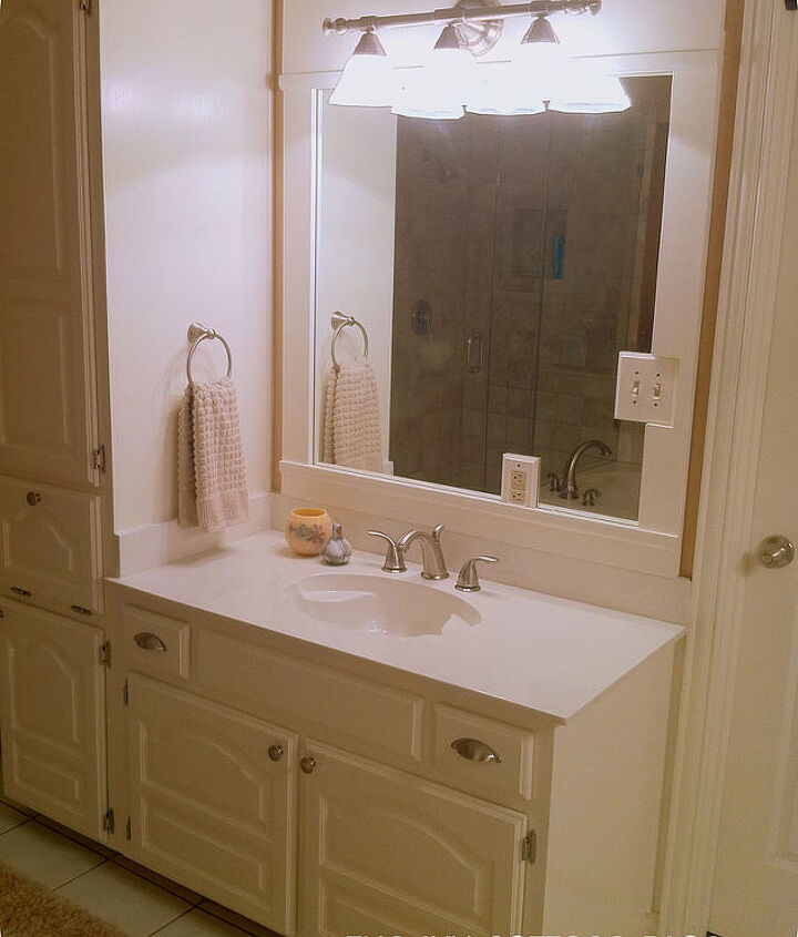 We recreated the same effect on my husband's vanity.