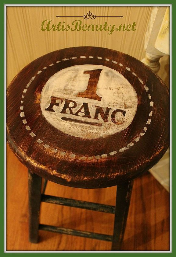dumpster dive bar stool turned shabby french stand, home decor, painted furniture