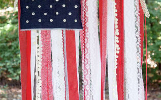 patriotic ribbon lace and fabric scrap flag, crafts, patriotic decor ideas, seasonal holiday decor