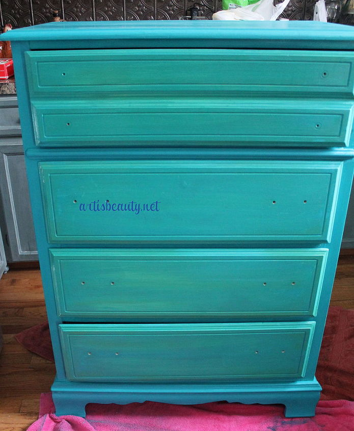 for the drawers I did the custom blue with a custom green wash over them to make them pop.
