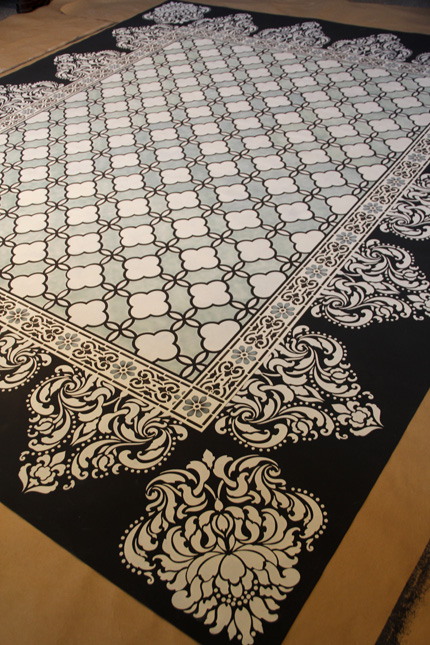 Classical Border & Corner Stencil, Florentine Damask Stencil, and our Eastern Lattice Moroccan Stencil were used on this beautiful carpet! http://www.royaldesignstudio.com/blogs/how-to-stencil/5156302-chalk-paint-stenciled-floor-cloth