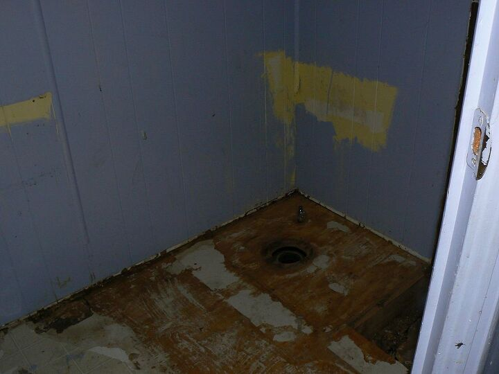 We tore out all the old fixtures to lay tile on the floor.