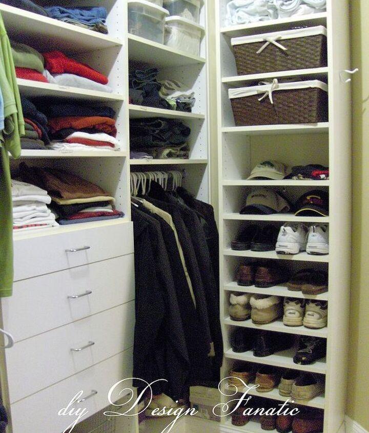 organized master bedroom closet, closet, organizing, shelving ideas