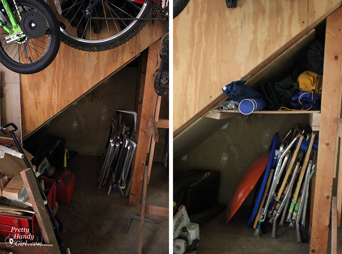 Claiming storage in unused space under the stairs.