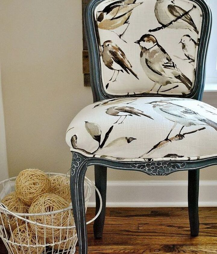 french chair makeover and tutorial, painted furniture, reupholster
