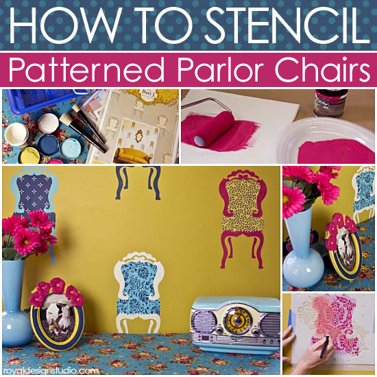 how to stencil allover patterns into motif stencils, diy, home decor, how to, painted furniture, wall decor, How to Stencil Patterned Parlor Chairs with Royal Design Studio