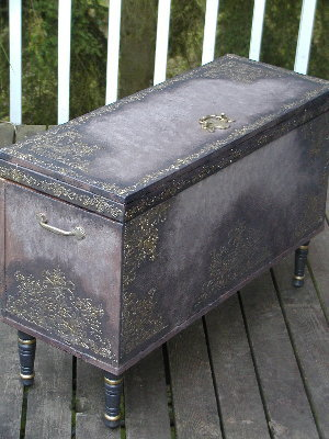a plain chest make over now looks like an antique treasure, painted furniture, Raised Plaster Stenciling and a bit of paint gave this plain chest a new focal place in my home