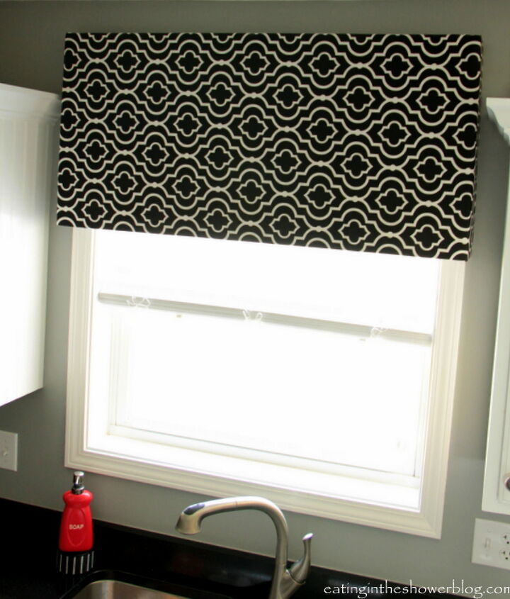 Another view of our DIY kitchen window treatment