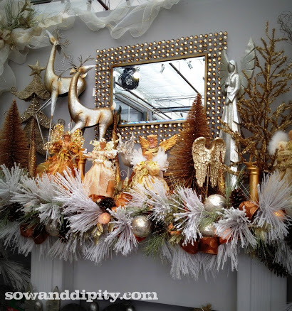 holiday decorating tutorial, christmas decorations, crafts, seasonal holiday decor, wreaths, Subdued classic gold and white mantel