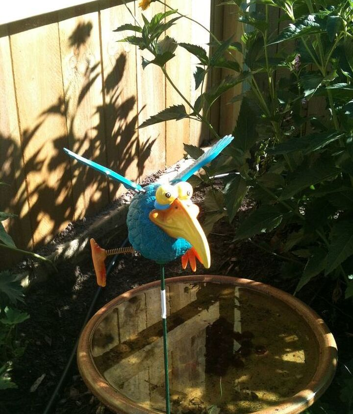 a crazy bird ornament standing over the bird bath that I made out of an old upside down plastic pot and pottery bowl