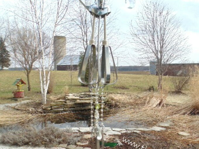 vintage egg beater wind chimes, outdoor living, repurposing upcycling