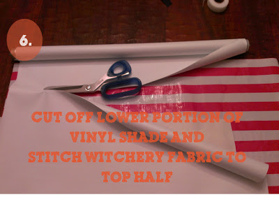 remove your widow's length of vinyl and adhere your new fabric to the remaining vinyl shade (using stitch witchery).  Then roll it up a few inches you will never even see what the original vinyl. Use a dowel to create weight at the end