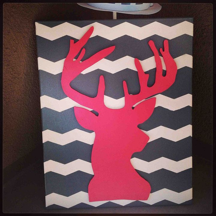 this was super easy and was a great babyshower gift all i did was cut, crafts, DIY Deer Head Canvas