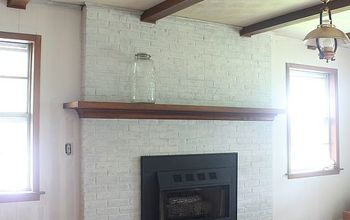 transform a brick fireplace with a white wash before after, concrete masonry, fireplaces mantels, painting, An amazing fireplace transformation