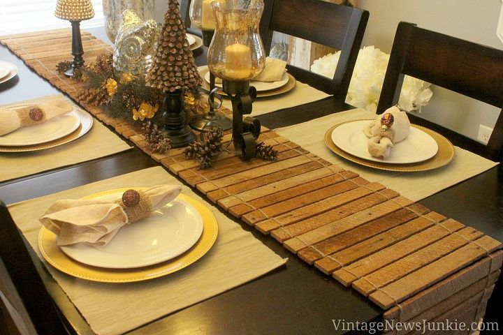 Table runner made from scrap wood.