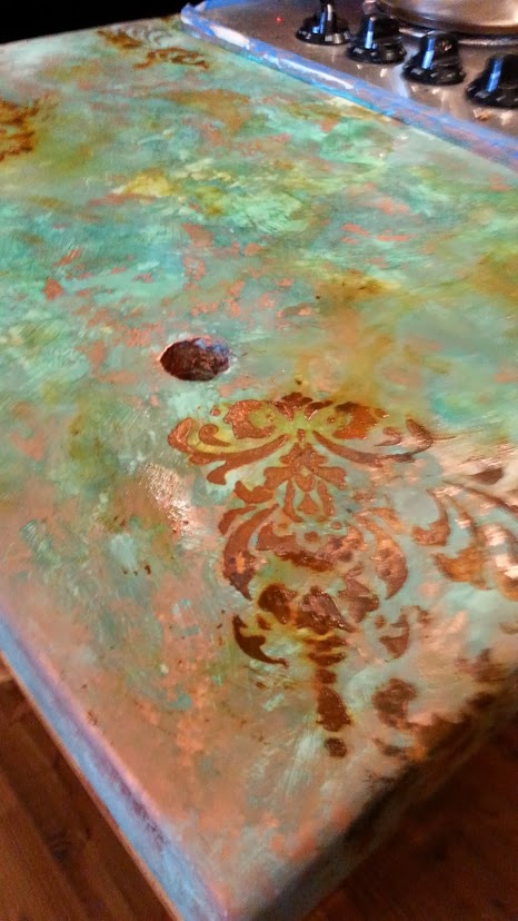 sk sartell concrete to copper, concrete masonry, concrete countertops, countertops, painting, SK paints old concrete with Modern Master Metal Effects Paint