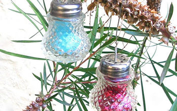 crystal ornaments made from vintage salt shakers, christmas decorations, repurposing upcycling, seasonal holiday decor, These are the same shakers as in the previous photo but now they have color inside