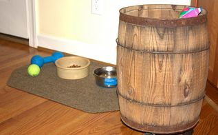 dog food storage vintage style, cleaning tips, repurposing upcycling, The barrel can easily be rolled to Sherman s eating area when it is meal time