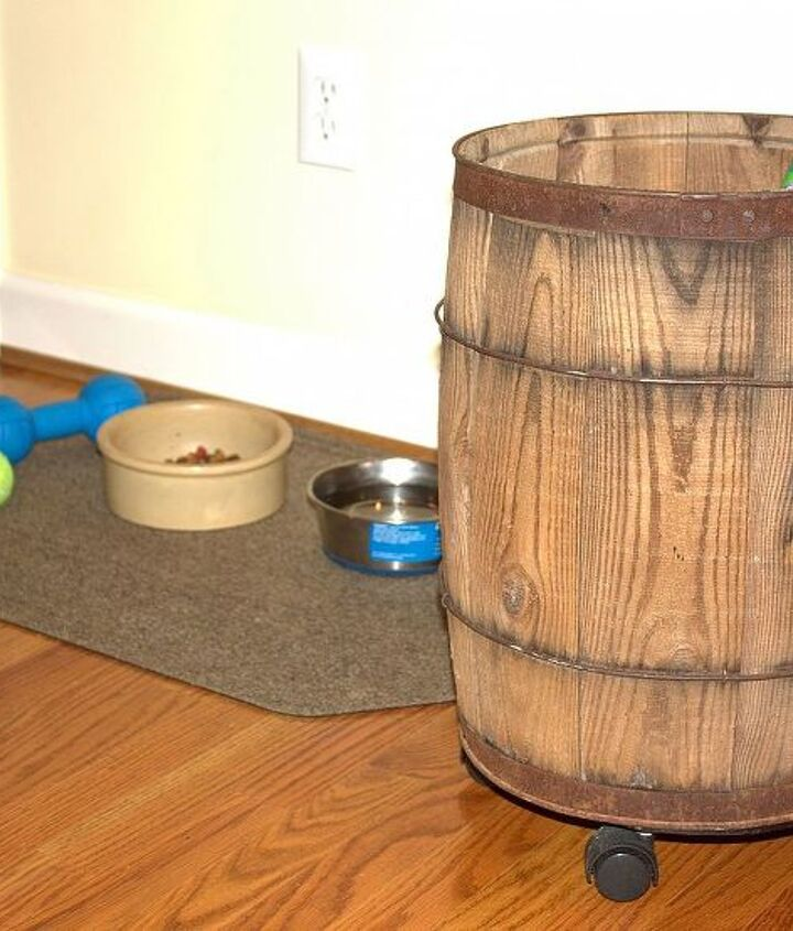 The barrel can easily be rolled to Sherman's eating area when it is meal time.