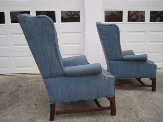 vintage wing back chairs, painted furniture, Before