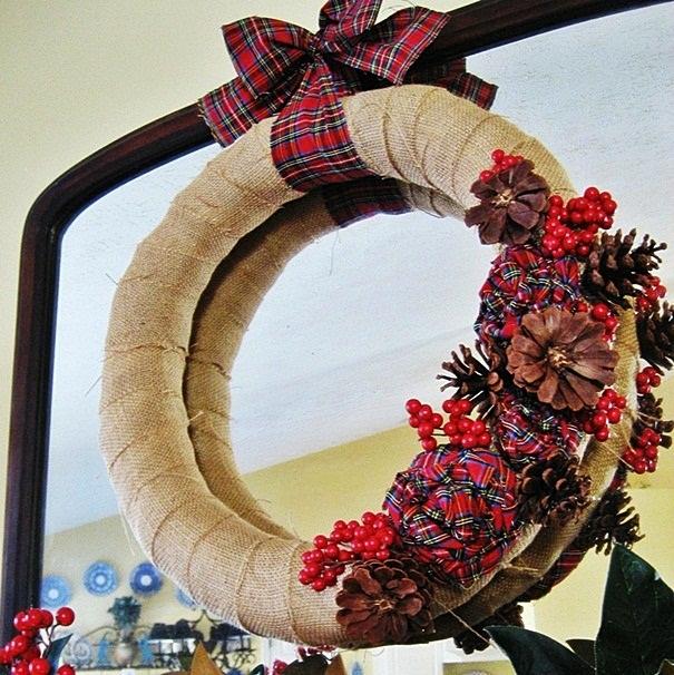 Burlap and plaid Christmas wreath