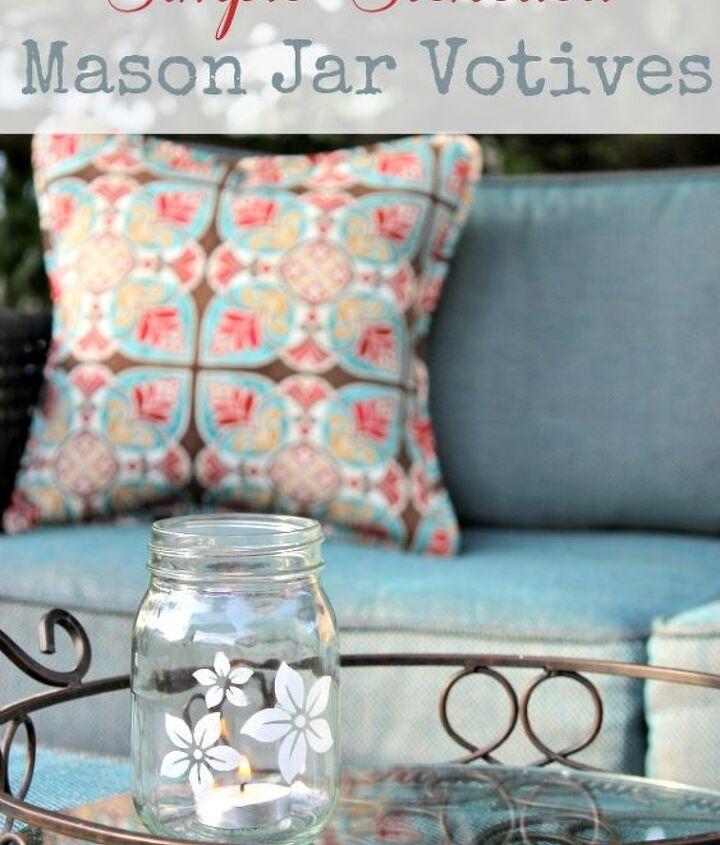 Stenciled Mason Jar Votive Holders