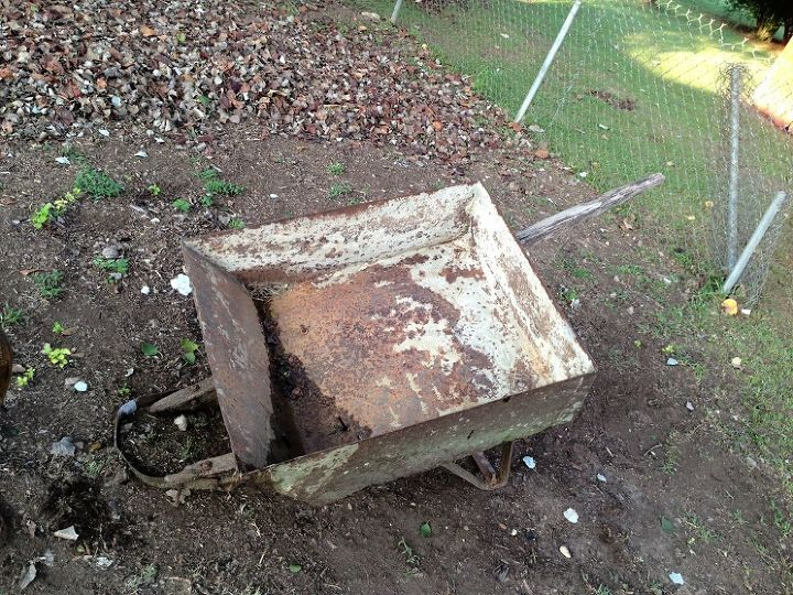 old garden hose reel and a 39 year old wheel barrow, repurposing upcycling, Wheel Barrow