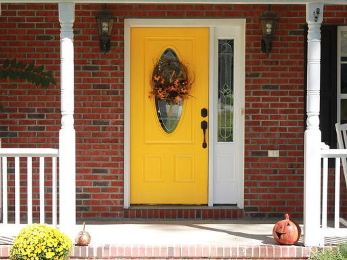 a yellow front door, curb appeal, doors, painting, Welcome