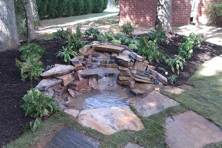 pond in a box, landscape, outdoor living, ponds water features