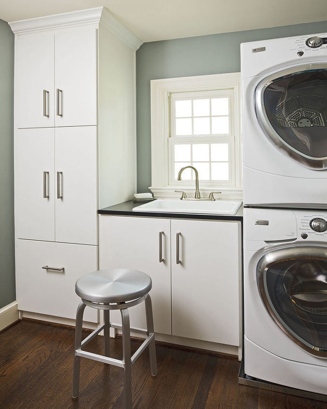 A new and efficient laundry room provided added storage and usable space.