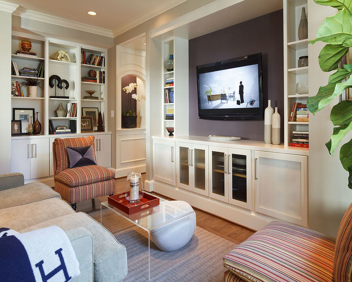 Custom built-ins add functionality and charm to the new living space.