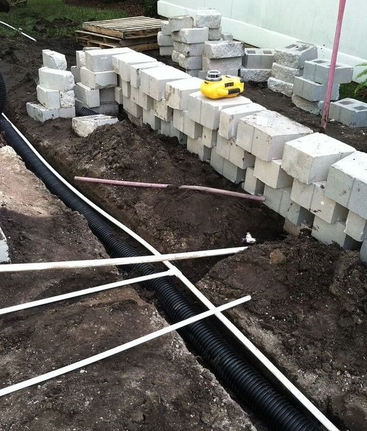 Underground drainage for rain water, drains for the Summer Kitchen sink and fresh water going to Summer Kitchen