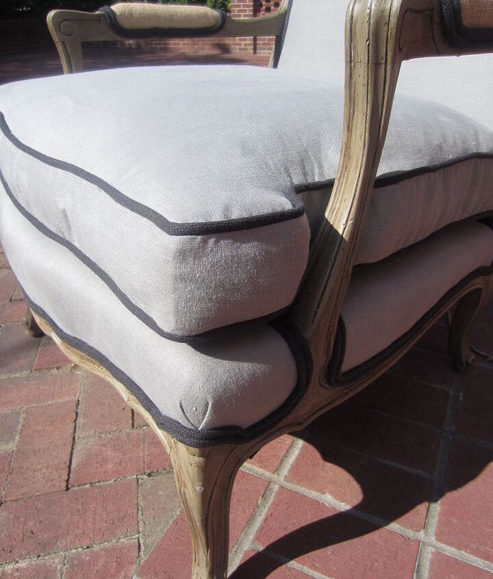 bergere chair make over, chalk paint, painted furniture, reupholster