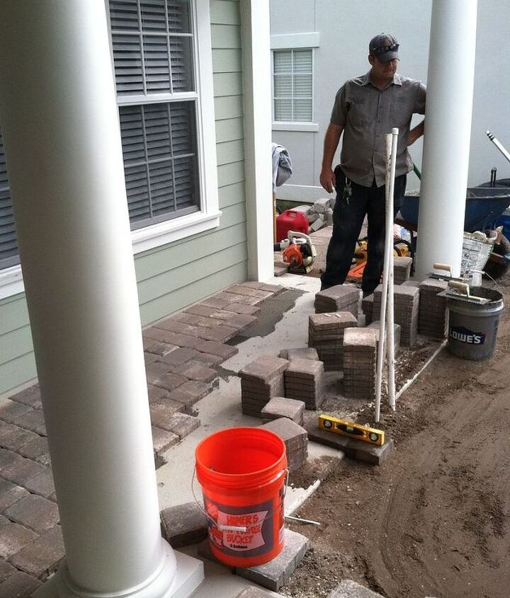 Thin pavers mortared down